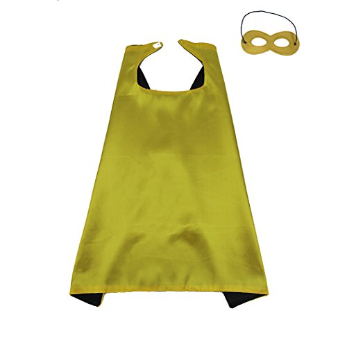 Whoopgifts 70cm x 70cm Polyester Satin Reversible Kids, Adult, Men, Women Superhero Cape with Mask, Yellow&Black