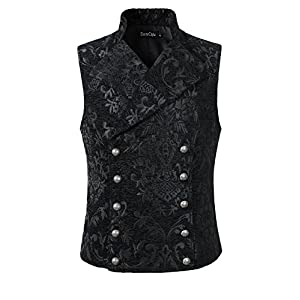 DarcChic Mens Tapestry Double-breasted Vest Waistcoat Gothic Aristocrat Steampunk Victorian
