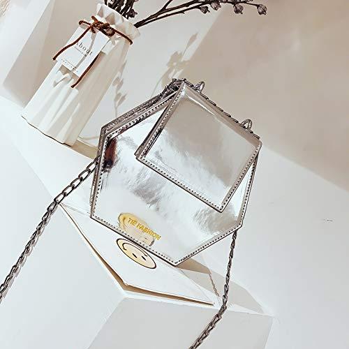 en à Messenger de Fille Cuir Sac Femme WSLMHH Sac chaîne Sauvage la bandoulière Argent Mode coréenne Version été Bag Verni Petit dxqTS6