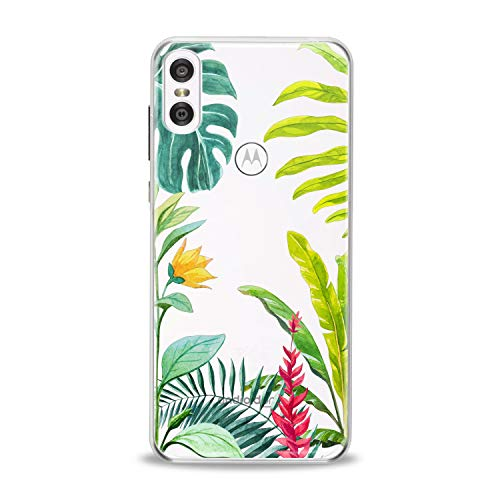 Lex Altern TPU Case for Motorola Moto G7 Power One P30 P40 Note G6 Z4 Tropical Flowers Green Leaf Monstera Translucent Clear Cover Silicone Floral Protective Girls Fern Design Beauty Women Present -