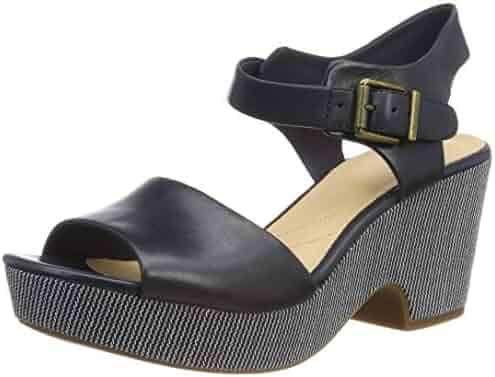ac82cfcce29 CLARKS Maritsa Janna Women s Sandals Wedge Heel Plateau Leather Blue