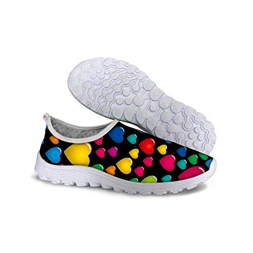 DESIGNS Shoes Mesh Walk FOR Graffiti Print Colorful U Black Women's Running Lightweight 1vxq57n0
