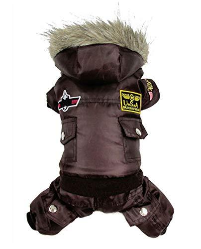 Morezi Small Dog Apparel Airman Fleece Winter Coat Snowsuit Hooded Jumpsuit Waterproof (This Style Run Small, pls take a…