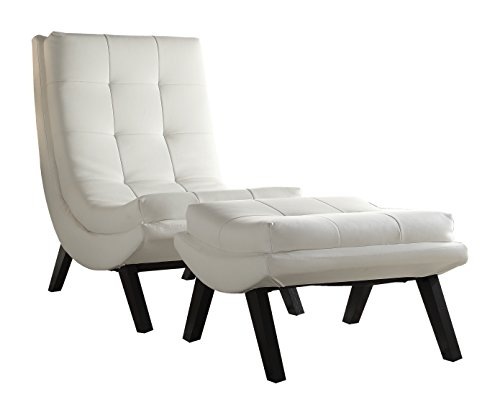 AVE SIX Tustin Lounge Chair and Ottoman Set with White Fuax Leather Fabric and Black Legs - York Lounge Chair