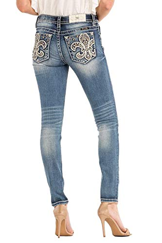 - Miss Me Women's Glam Show Pearl-Accent Fleur-De-Lis Pocket Skinny Jeans (Medium Wash, 30)