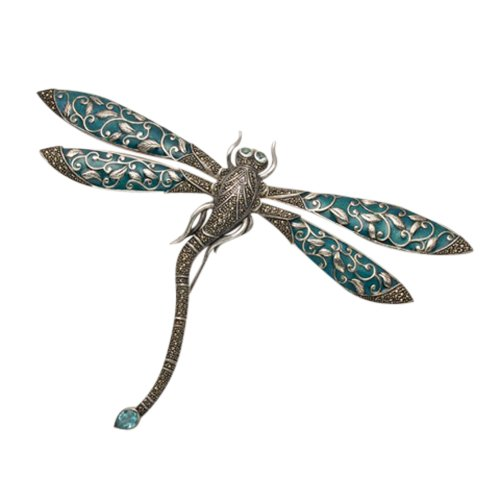Wild Things Large Sterling Silver Dragonfly Pin w/Marcasite, Green Enamel & Faceted Blue Crystals