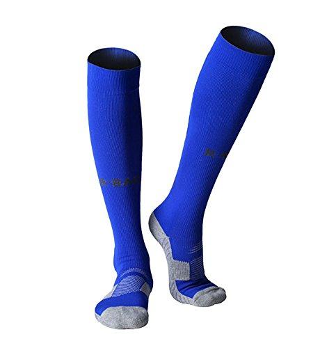 Baseball Stockings - Long Sports Socks Athletic Compression Stockings Football Soccer baseball Socks Men Adult boys knee high (blue)