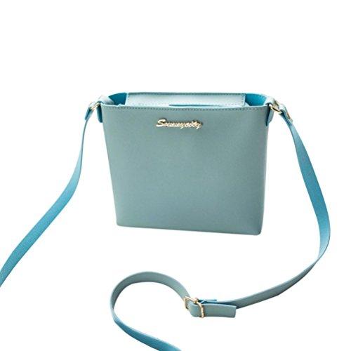 leather fashion bags Blue crossbody Women's GINELO handbags bag mini color soild bags messenger qHT16nTg