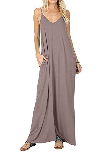 Rainlover Women's Summer Casual Plain Swing Pockets Loose Beach Cami Maxi Dress (Medium, Khaki)