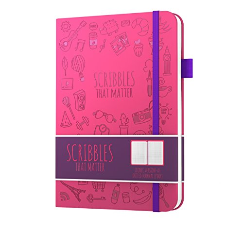 Scribbles That Matter (Iconic version) Dotted Journal Notebook Diary A5 - Elastic Band - Beautiful Designer Cover - Premium Thick Paper (Pink)