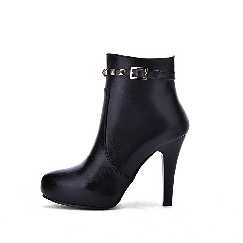 Low AgooLar Black Closed Top Heels High Pointed Boots Toe PU Women's Zipper R8nBAgR