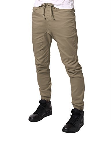 JD Apparel Mens Slim Fit Drawstring Harem Joggers Fashion Pants S Khaki