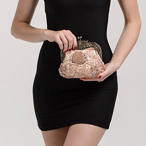 Satin Beaded Sequin Women Retro Bags Party Evening A Rhinestone EPLAZA Clutch Purse Handbags EwtIqAA