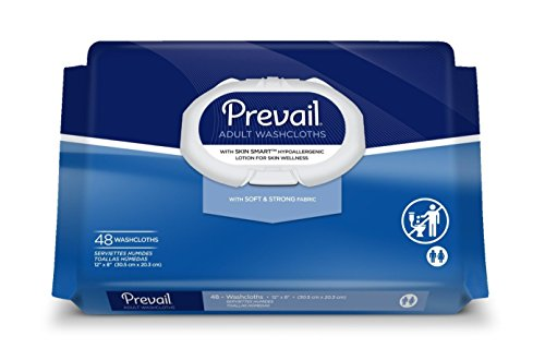Adult Wipes (Prevail Single-Hand Dispensing Feature Large Washcloths, 48 Count (Pack of 12))