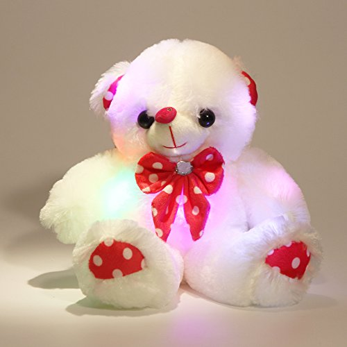 Plush BEAR New 5.5 Inches Tall White Bear with Red Heart and Ribbon