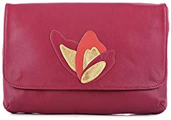 Olivia Clergue Clutch for Women - Leather, Red