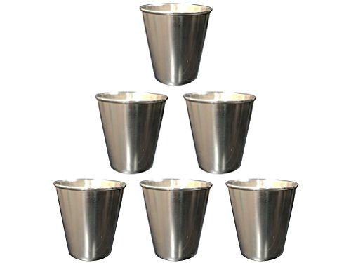 Premium Stainless Steel Shot Glass Set of 6 - NO RUST - 2oz cup (Stainless Steel Shot Glass compare prices)