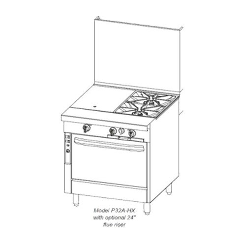 Southbend 32 in. Heavy Duty Range 2 Burner/Hot Top - P32D-XH