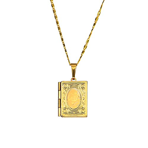 BYyushop Unisex 18K Gold Plated Islamic Allah Quran Box Photo Locket Pendant Necklace - Golden