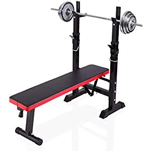 Adjustable Folding Fitness Barbell Rack, Weight Bench for Home Gym, Strength Training, Fitness Workout Bench for Full Body Exercise