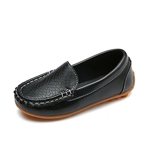 Toddler Kids Boys Girls Leather Loafers Slip On Boat Dress Oxfords Shoes Flats(11 M US Little Kid, Black)