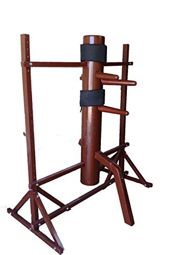 WUDETON Traditional Kung Fu Wing Chun Wooden Dummy with Protective Pads, Wing Chun Wooden Dummy Mook Yan Jong, Ip Man Wooden Dummy with Frame (Purplish Red)