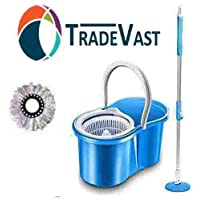 TradeVast® 360 Degree Spin Floor Cleaning Easy Bucket PVC Mop with 1 Microfiber Heads (Color May Very)
