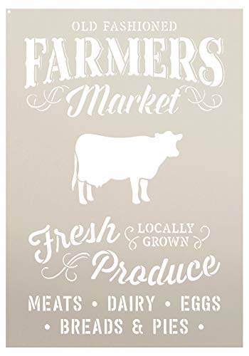Old Fashioned Farmer's Market - Word Art Stencil - STCL1972 - by StudioR12 (Select Size) (12