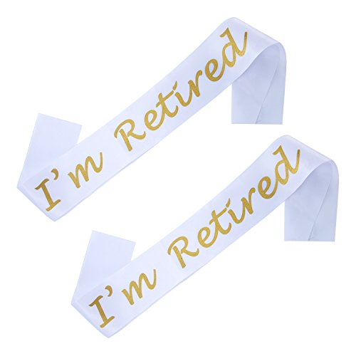 Sumind 2 Pack I'm Retired Satin Sash for Retirement Party Supplies, Gifts and Decorations