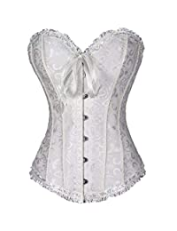 c52df567846 Sexy Satin Floral Gothic Lace Up Boned Corset Bustier Waist Trainer White M