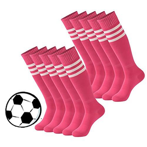 Calbom Youth Soccer Socks, Teenagers Durable Flexible Knee High Football Socks Long Striped Rugby Tube Socks 10 Rose Red 7-9 -