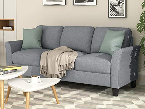 Harper Bright Designs Living Room Furniture Set Loveseat Sofa and 3-Seat Sofa Couches Linen Fabric Upholstered Sofa Set, Gray