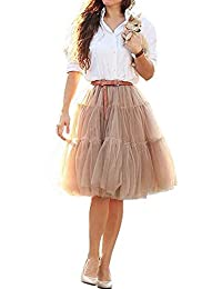 CoutureBridal® Womens 6 Layers Ball Gown Tulle Tutu Midi Skirts