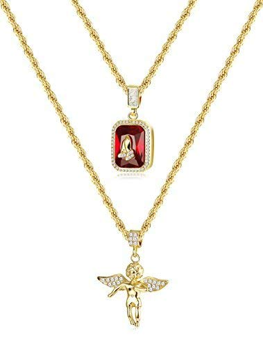 - Thunaraz 2Pcs 18k Gold Plated Necklace Angel Hip Hop Pendent Praying Hands Necklace Twist Rope Chain 24'' 30inch