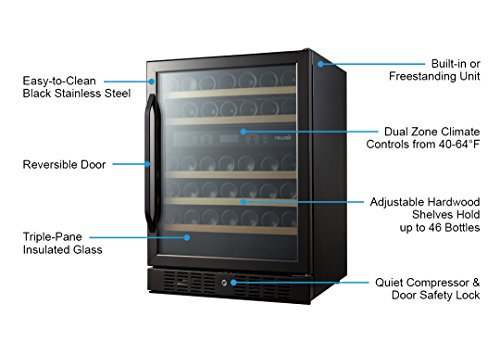 NewAir AWR-460DB-B Dual Zone 46 Bottle Built in Wine Cooler, Black Stainless Steel by NewAir (Image #9)