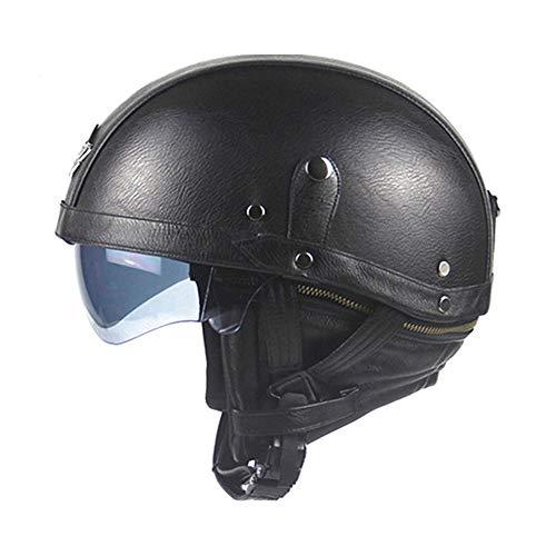 Leather Motorcycle Helmet Vintage Half Helmet Cruiser Scooter Touring Moto Helmet DOT Sun Shield ()