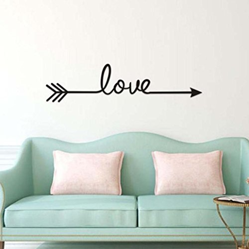 Vacally Wall Decor Stickers Letter Love Arrow Decal Living Room Bedroom Vinyl Carving Wall Decal Sticker for Home Decoration