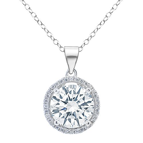 (ROBERT MATTHEW Ashley 18k White Gold Pendant Necklace - Gold Plated Halo Necklace w/Solitaire Round Cut Cubic Zirconia Diamond Cluster CZ Necklace, Christmas Jewelry)