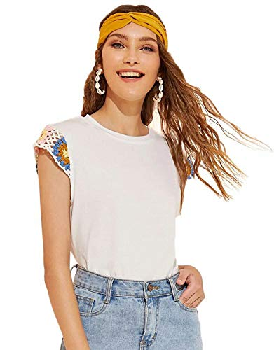 (SweatyRocks Women's Crochet Armhole Cap Sleeve T-Shirt Blouse Basic Tee Tops White #2 XS)