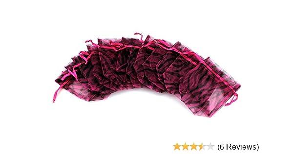 Tytroy 100pcs Black & Pink Zebra Print Organza Gift Bag Party Favor Bags Mini Gift Pouch 3