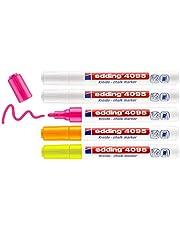 edding 4095 krijtmarkerset - wit, neon-geel, neon-oranje, neon-roze - 5 krijtstiften - ronde punt 2-3 mm - krijtstift voor borden, uitwisbaar, ruiten, glas, spiegels - bordstift met dekkende kleuren