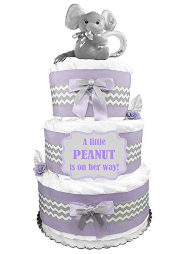 Elephant 3-Tier Diaper Cake - Girl Baby Shower Gift - Lavender and Gray ()