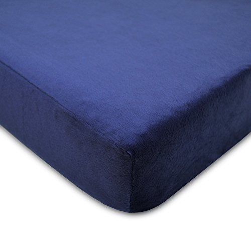 TL Care Heavenly Soft Chenille Fitted Crib Sheet for Standard Crib and Toddler Mattresses,  Navy,28