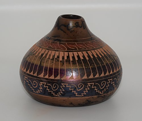 Colorful Hand Etched Horse Hair Decorative Pottery Vase (Pottery Etched Navajo)