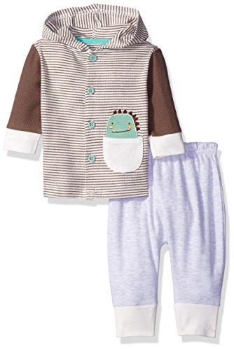 Rene Rofe Baby Boys' 2 Piece Hooded Cardigan and Pant Set, Natural Stripe Dino, 3-6 Months