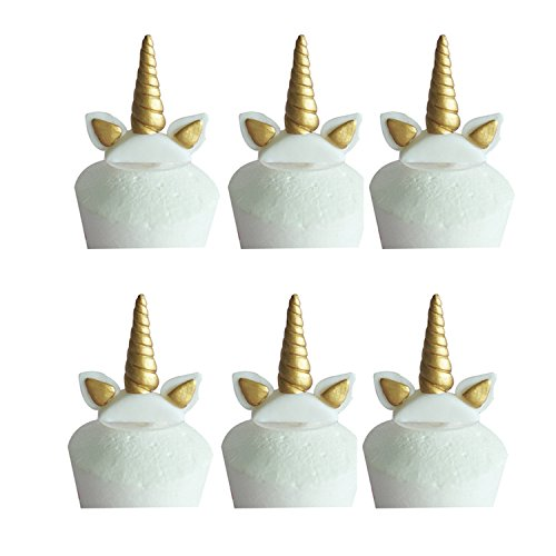Small Size Gold Unicorn Horn CupCake Toppers With Ears - 6 Pack by Aioong