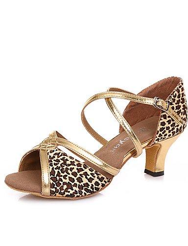 La mode moderne Non Sandales femmes personnalisables en cuir chaussures de danse salsa latino/talons Talon pratique Black/Gold/Leopard,Black/Gold,US8/EU39/UK6/CN39
