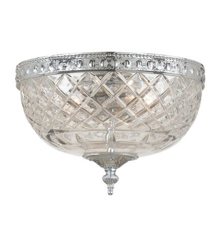 Flush Mounts 2 Light With Polished Chrome Lead Crystal Cast Brass 8 inch 120 Watts - World of - Cast Two Light Cortland