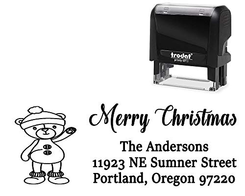 Custom Merry Christmas Self-Inking Stamp. with Waving Teddy Bear Image - Large 4 Lines. Change All Wording + Choose Ink Color.