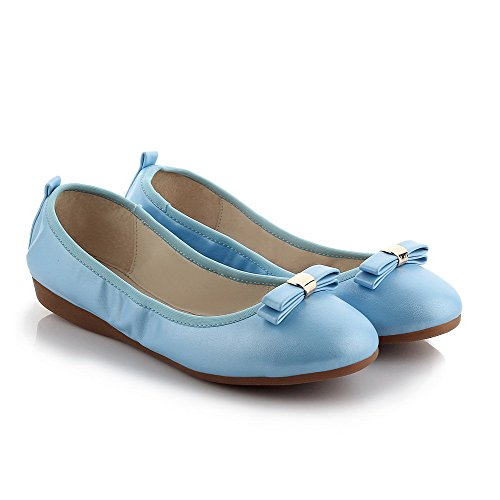 WeiPoot Womens Solid PU Low-Heels Round Closed Toe Pull-On Ballet-Flats Blue Rr3kG4w